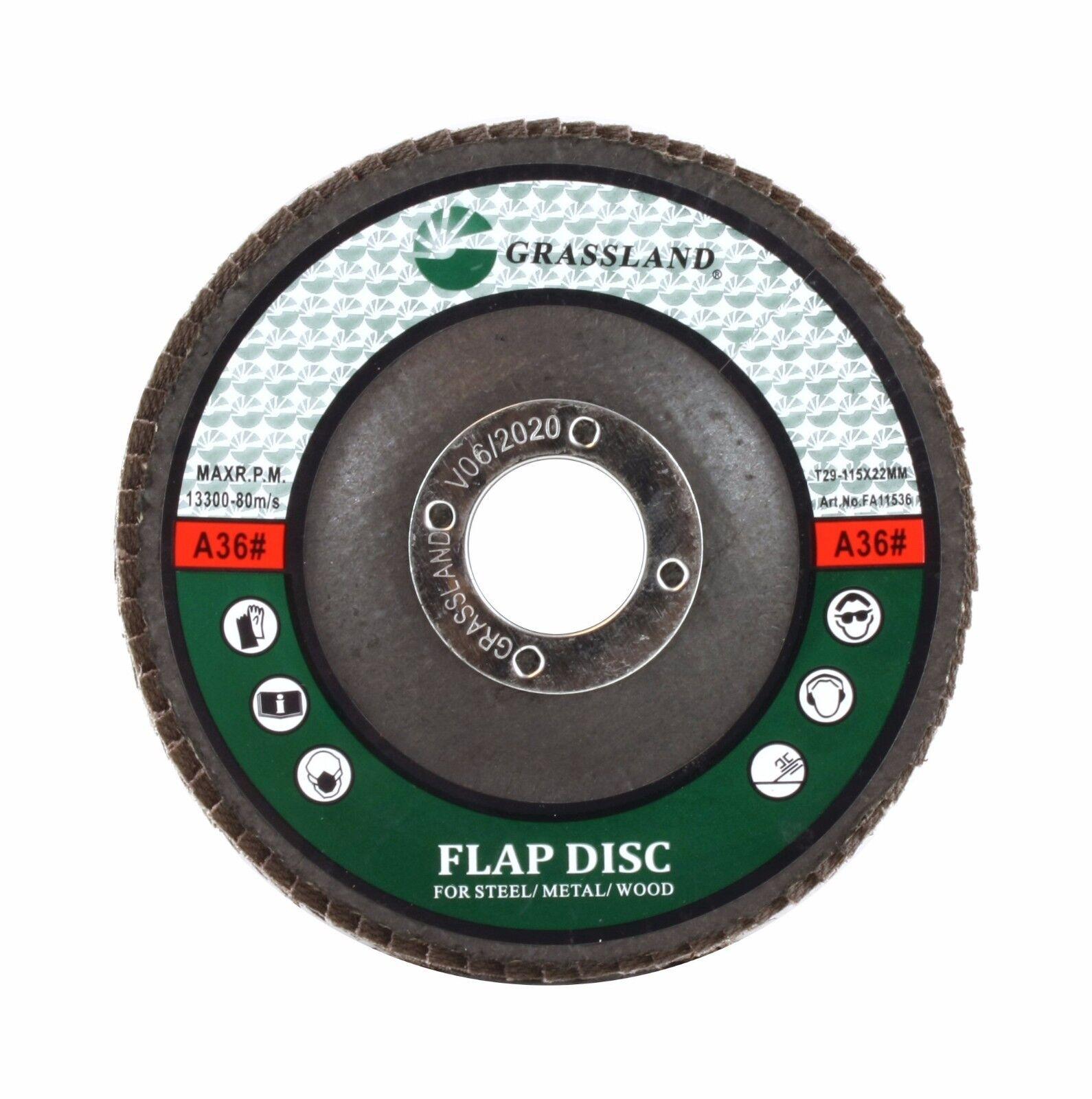 "4-1//2/"" x 7//8/"" Aluminum Oxide Grinding Wheel 120 Grit Flap Disc 7//8/"" Arbor 10"