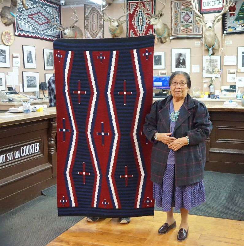 "Lucy Manning, Navajo Rug, Chief Blanket, Handwoven, 70"" x 40"""