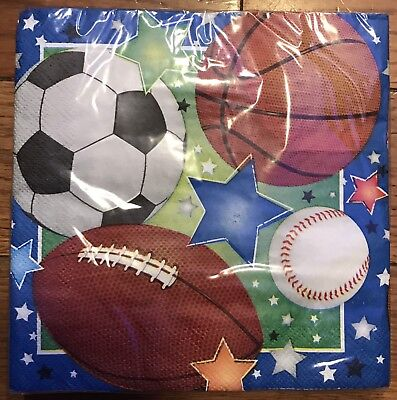 Sports Theme 20 Napkins Birthday Party Football Baseball