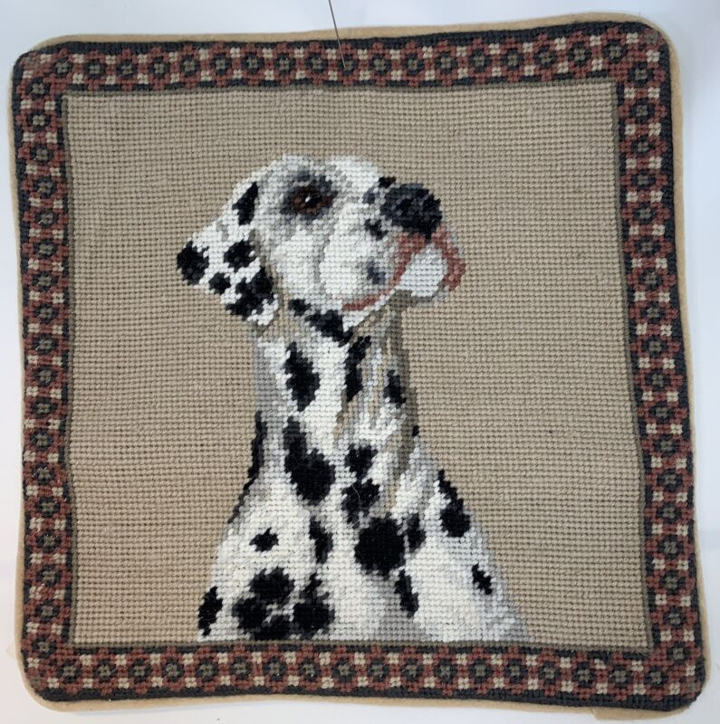 """Dalmatian Dog 11.5"""" Square Needlepoint Pillowcase Velveteen Back + Zipper"""