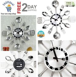 Contemporary Kitchen Utensil Wall Clock Silver-Toned Forks, Spoons, Spatulas NEW