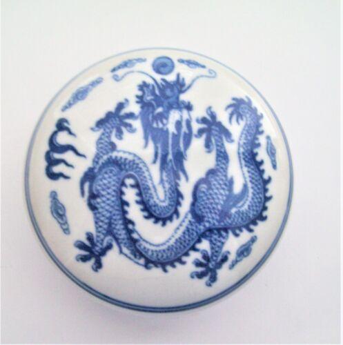 Vintage Asian Dragon Blue & White Porcelain Trinket Box or Trinket Dish - Signed