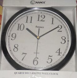 "Advance Quartz Decorative Wall Clock White 10"" Diameter"