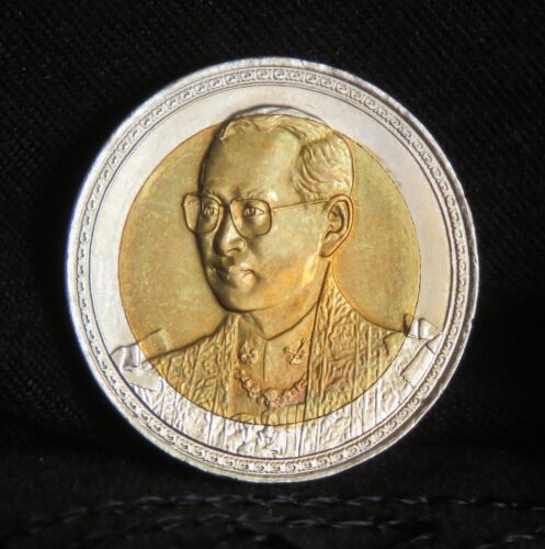 2002 King Bhumibol Adulyadej Rama 9 IX 75th Birthday 10 Baht Bi Metal Coin Thai