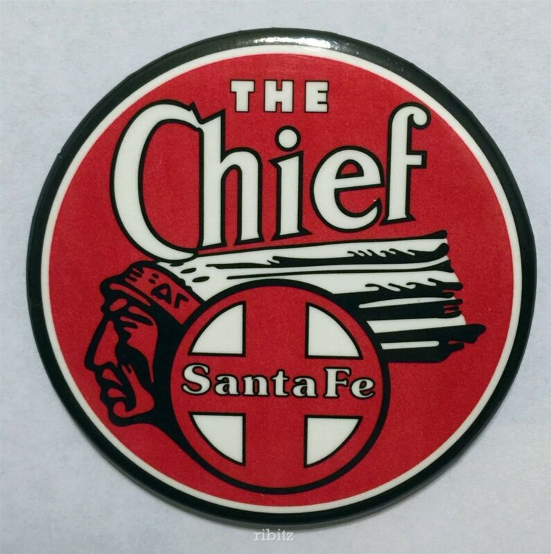 ATSF Santa Fee THE CHIEF 🚂 red white and black design kitchen magnet 2¼ inches