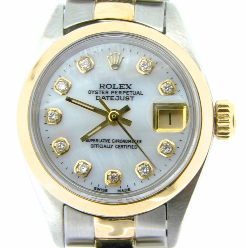 Rolex Datejust Ladies 14k Yellow Gold & Steel Watch White Mop Diamond Dial 6917