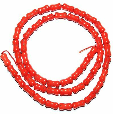 CRL233 Red Bamboo Coral 8mm Concave Round Tube Beads 15