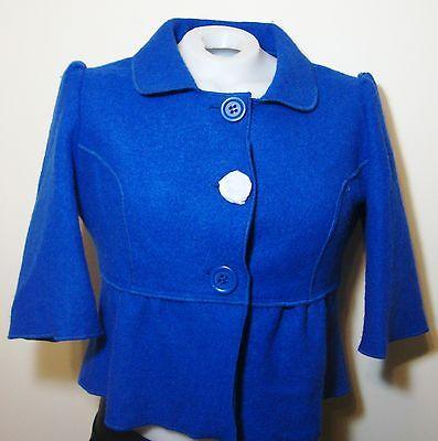 Worthington Cropped Royal Blue Wool Coat Womens L