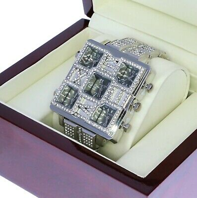 5 Times Zone Hip Hop Silver Fully Iced Out Bling Bling Simulated Diamond Watch