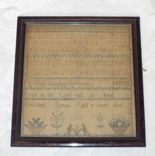 EARLY Antique 1840 EMBROIDERED SAMPLER Alphabet & Motto ELIZABETH BARTON Age 8