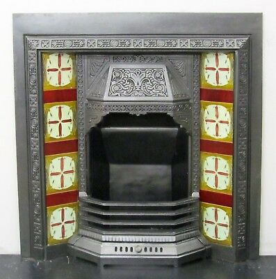 """Antique Victorian 36""""x38"""" Tiled Insert Fireplace with Original Victorian Tiles"""