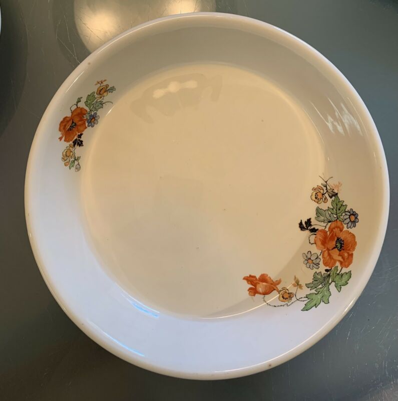 "Paden City Pottery 9"" Poppies Pie Plate Vintage Bak-Serv Oven Proof USA"