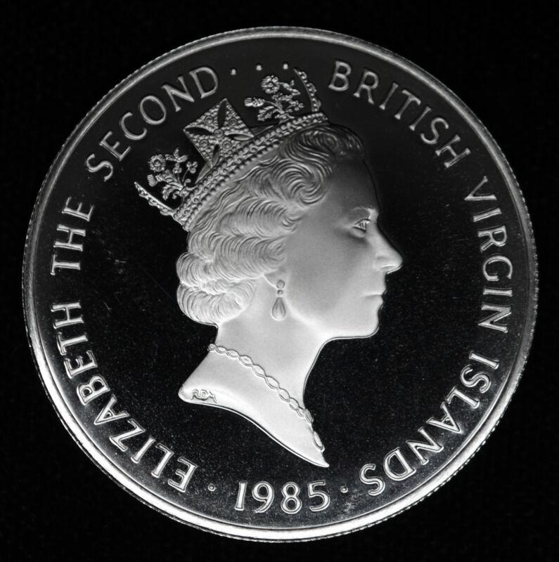 British Virgin Islands $20 Dollars 1985 FM Proof CAM silver crown KM#51