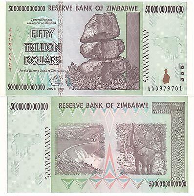2 X ZIMBABWE 50 TRILLION DOLLARS UNCIRCULATED AA/2008 SERIES = $100 Trillion