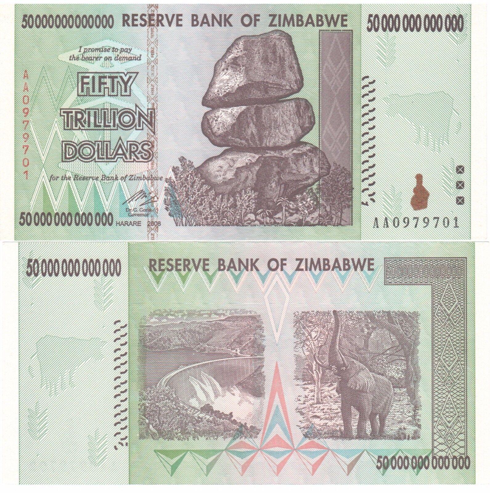 Купить 2 X ZIMBABWE 50 TRILLION DOLLARS UNCIRCULATED AA/2008 SERIES = $100 Trillion