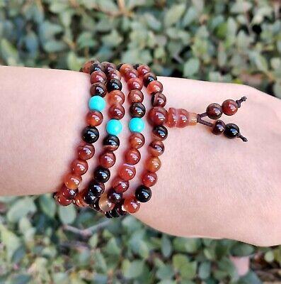 Tibetan 108 6mm Colorful Agate Gemstone Buddhist Prayer Beads Mala Bracelet - $9.95