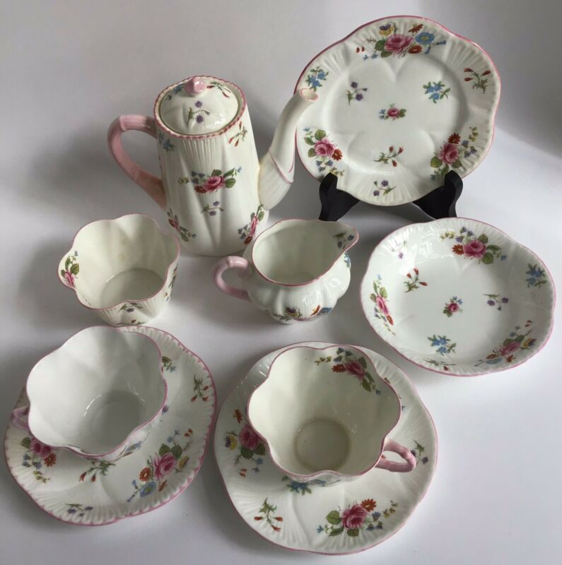 "Shelley ""Red Rose & Daisy"" Two Cup Coffee Set"