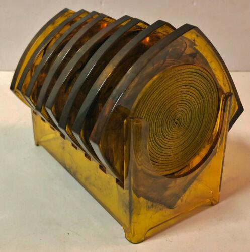 SET OF 8 VINTAGE MCM LUCITE TORTOISE SHELL SWIRL COASTERS ACRYLIC MID CENTURY