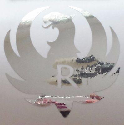 Ruger Logo Silver Chrome Vinyl Die Cut Gun 3.5 Decal Sticker