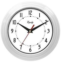 25011 Equity by La Crosse 8 Plastic Analog Wall Clock - White