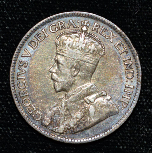 Canada Toned 1916 Quarter VF KGV Silver 25c Coin Canadian Sterling