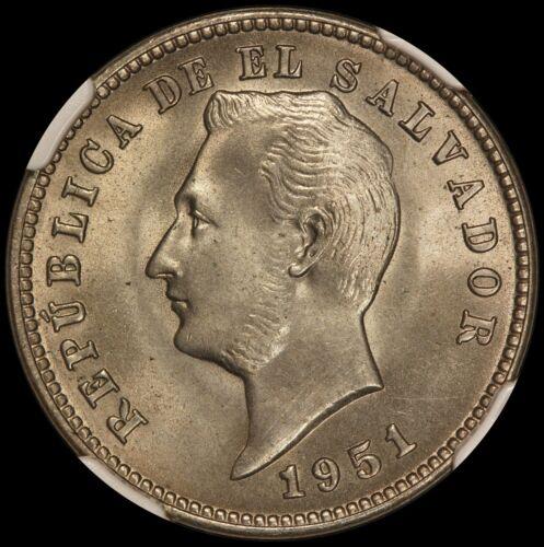 1951 El Salvador 10 Centavos Coin - NGC MS 66 - KM# 130 - Key Date