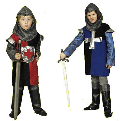 3tlg Kinder Jungen Kostüm RITTER rot blau schwarz mittelalter Larp - Silber Ritter Kinder Kostüm