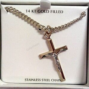 men 39 s 14k gold and rhodium religious crucifix cross. Black Bedroom Furniture Sets. Home Design Ideas