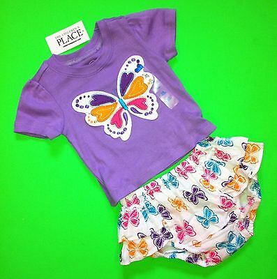 NEW! 'Butterfly' Baby Girls 2 Pc Outfit Set Shirt Shorts 6-9 Months Gift! $19.95