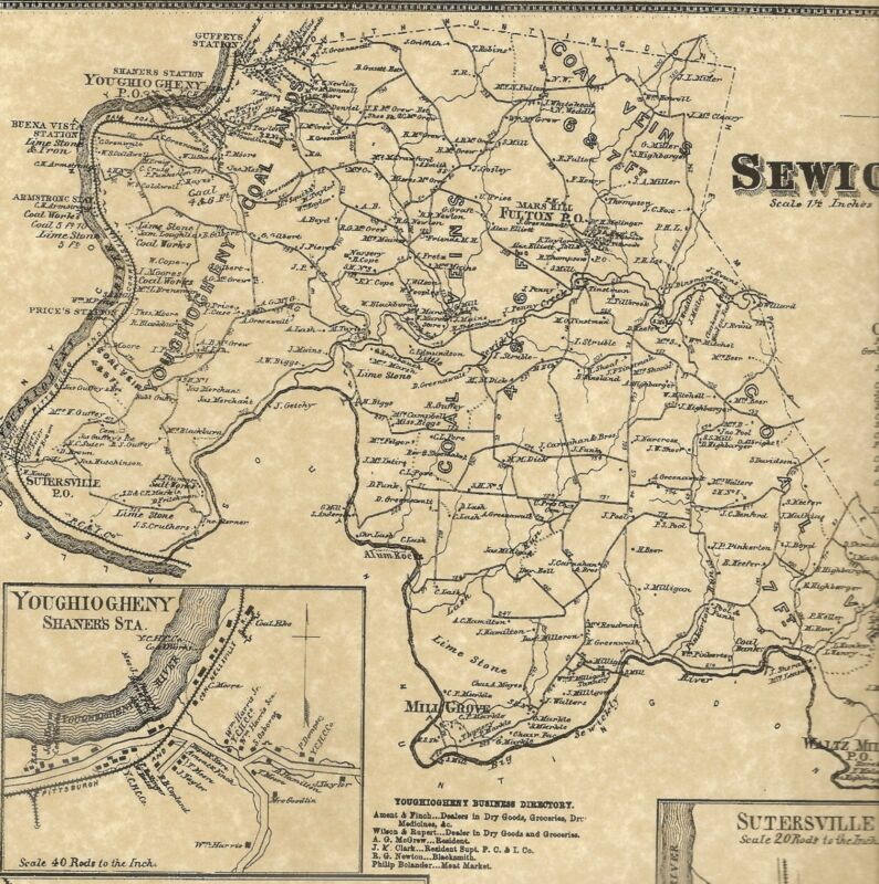 Sewickly Sutersville Herminie Rillton  PA 1867 Map with Landowners Names Shown