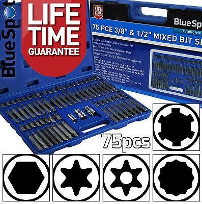 """75pc Special Bit Set Hex Spline Ribe Star Torx Tamperproof Torx Bits 1/2"""" & 3/8"""""""