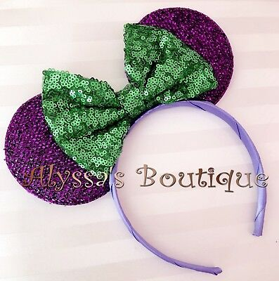 **NEW** Minnie Mouse Ears Headband Shiny Shimmer Purple Sparkly Sequin Green Bow