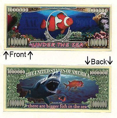 Fish Under The Sea 1 Million Dollars Bill Novelty Notes 1 5 25 50 100 500