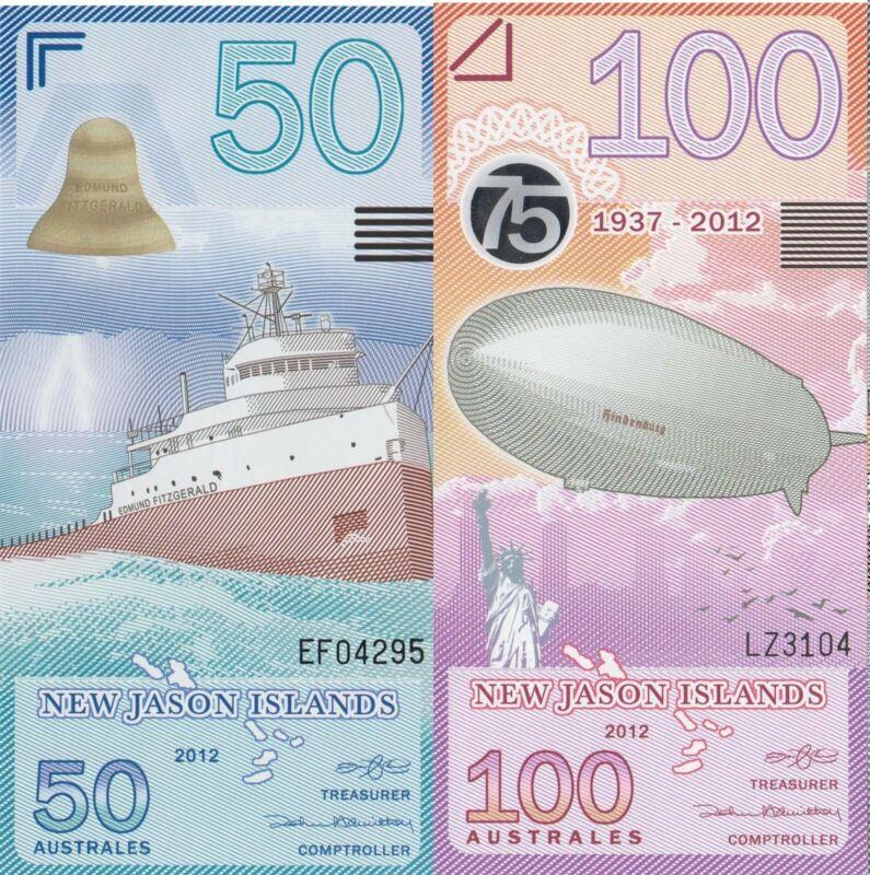 New Jason Islands 2 Note Set: 50 and 100 Australes UNC
