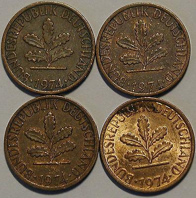 1 Pfennig 1974 D F G J Kompletter Satz
