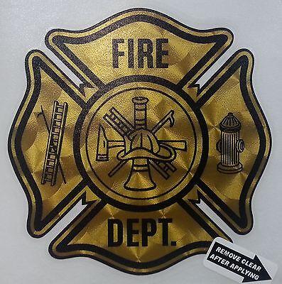 """Fire Dept., Firefighter, Gold Coburn Vinyl Decal,  4"""". wide  #FD44"""