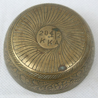 Antique Vintage Small Middle Eastern Spice Measure Brass Bowl Stamped 20.4/2 KKA