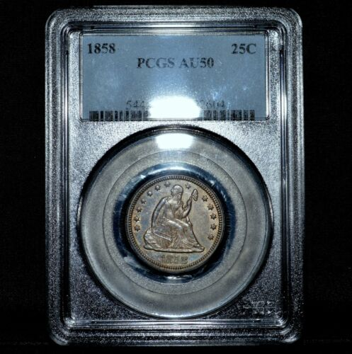 1858-P SEATED LIBERTY QUARTER ✪ PCGS AU-50 ✪ 25C ALMOST UNCIRCULATED ◢TRUSTED◣