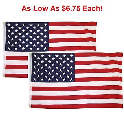 d040408ce690 3x5 American Flag w  Grommets ~ 2 Pack ~ USA United States of America ~