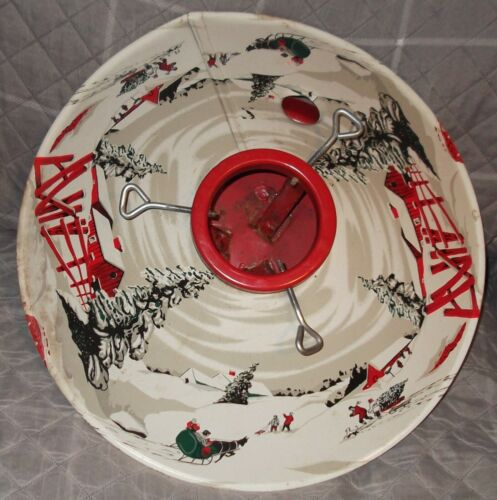 "VTG ""COLORAMIC"" STEEL COLLECTIBLE CHRISTMAS TREE STAND Winter Snow Scenes PRETTY"