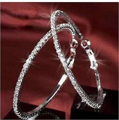 Medium size 40mm wide silver tone sparkly crystal hoop earrings