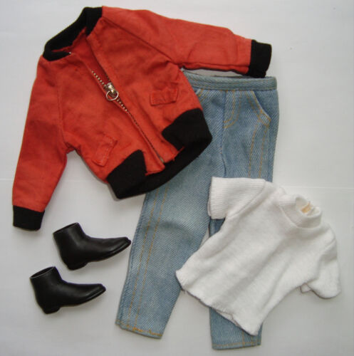 Barbie/ KEN CLOTHES Red Jacket, White Tee, Jeans, Boots NEW!