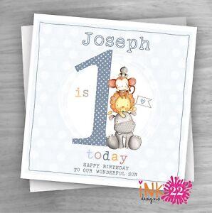 Personalised Handmade Card Baby 1st First Birthday Son Grandson Nephew Cute