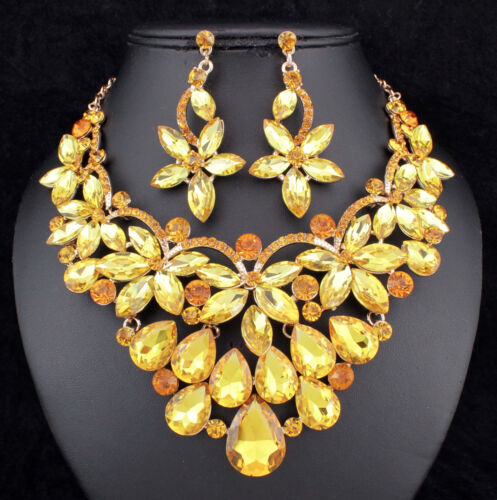 Floral Yellow Austrian Cystal Rhinestone Necklace Earrings Set Prom Bridal N894y