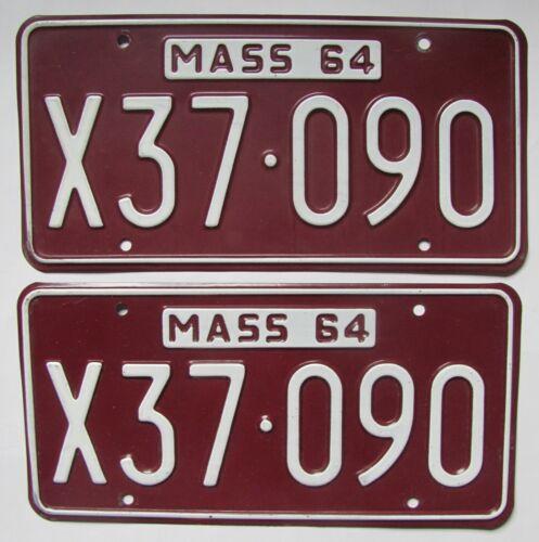 1965 Massachusetts car license plates PAIR & STICKER