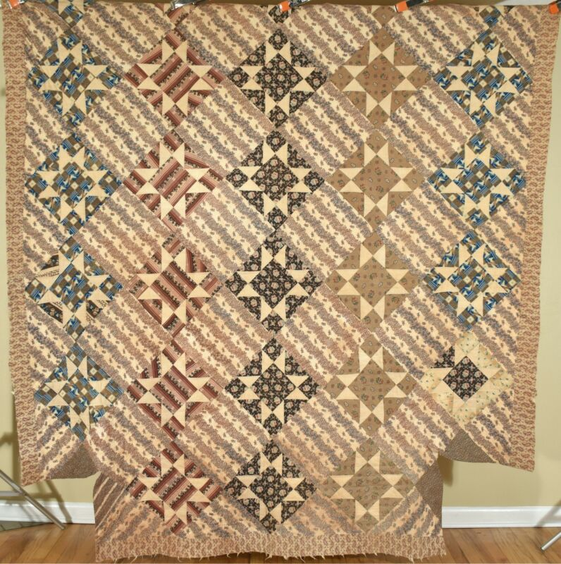 Antique Variable Stars Antique Quilt c. 1830 ~AMAZING EARLY FABRICS!