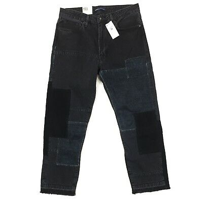 Levi's Made and Crafted Rail Straight Cropped Jeans Size 33 Black Patchwork $298