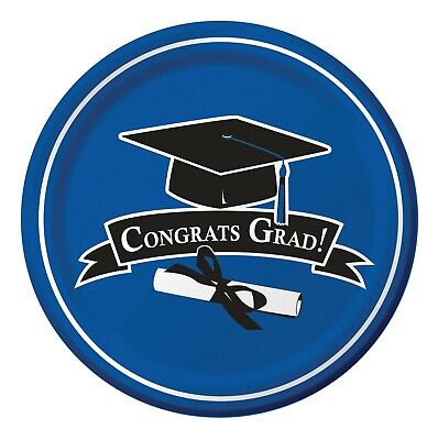 Graduation Dinner Plates Blue True 18ct Decoration Favor Party Supplies](Graduation Plates)
