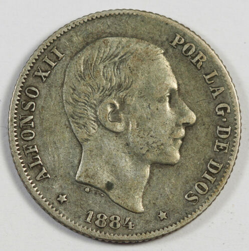 Philippines 1884 20 Centimos Silver Coin VF/XF Alfonso XII KM#149 Tough Date