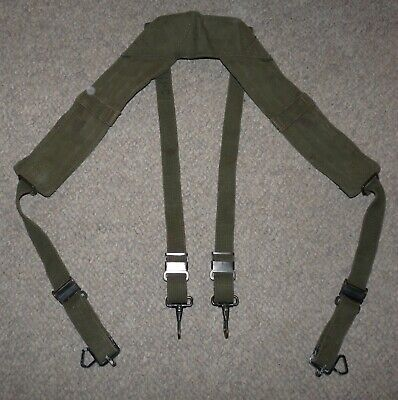 Original US Army M-1956 LCE OD Canvas H-Harness Equipment Belt Suspenders